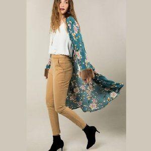 NWT Tiel Floral Kimono Cardigan W/Faux Fur Cuffs